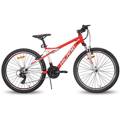Hiland 26 Inch Mountain Bike for Women 21Speed MTB Bicycle 18 Inch Suspension Fork Urban Commuter City Bicycle White&Red