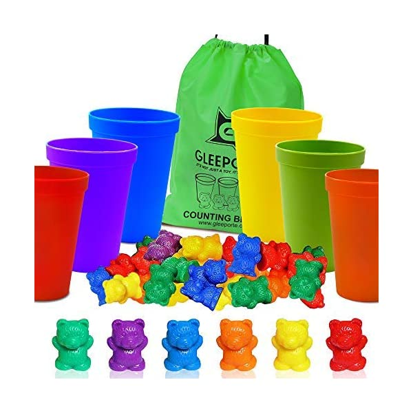 Gleeporte Colorful Counting Bears with Coordinated Sorting Cups | Sorting, Math Skills...