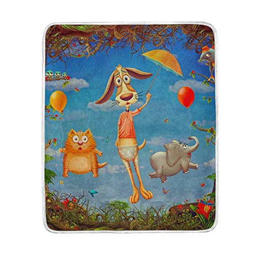 FULUHUAPIN Manta de forro polar con diseño de gato y perro, para adultos y niñas, de fácil cuidado, lavable a máquina, suave manta de 132 x 152 cm, 2030347