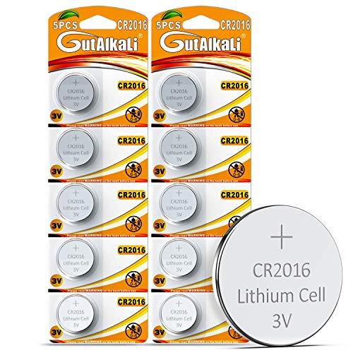 GutAlkaLi 10 Piles Boutons CR2016 Lithium 3V