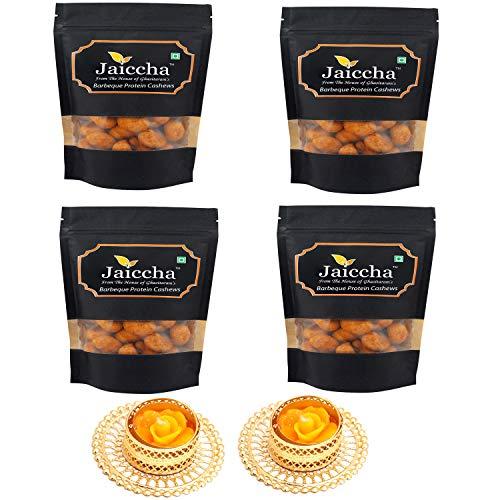 Jaiccha Ghasitaram Diwali Gifts Dryfruit - Barbeque Protein Cashews 800 GMS in Black Paper Pouch with 2 T-Lites