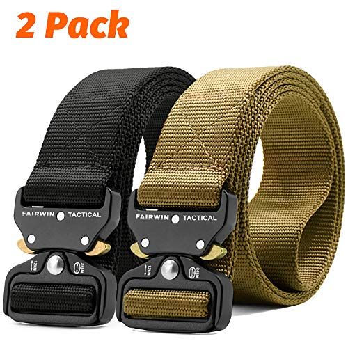 "Fairwin Tactical Belt, 1.5 Inch Wide Heavy Duty Military Style Tactical Belts for Men (Black+Tan, M-Waist(36""-42""))"