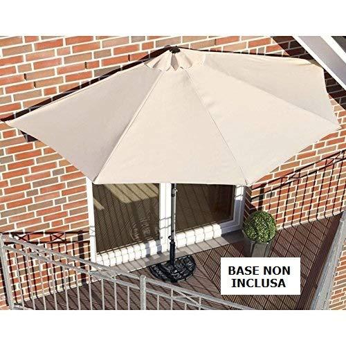 Protezione UV 30+ MIADOMODO Ombrellone da Balcone a Parete 228 x 134 cm Beige Ombrellone da Muro Colore a Scelta con Manovella Terrazzo Giardino