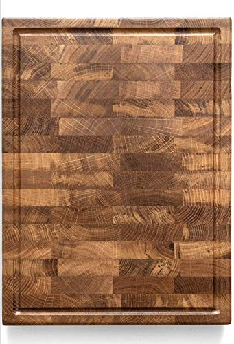 Daddy Chef End Grain Wood cutting board with Juice Drip Groove - Wood Chopping block - Large cutting board 18 x 12 Kitchen butcher block cutting board with feet - Kitchen Wooden chopping board (DTK)
