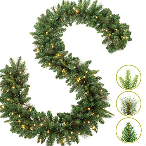 LIFEFAIR 9 FT by 12 Inch Christmas Garland,Pre-lit Garland with 50 Warm Lights, Classic Green Christmas Garland with 340 Branch Tips