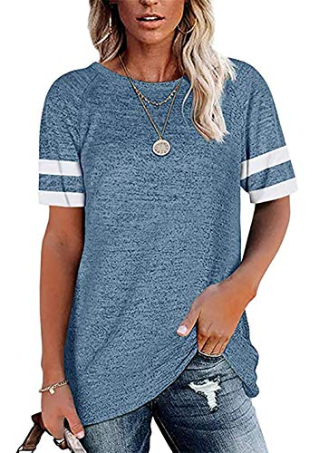 Camiseta de manga larga para mujer, cuello redondo, color bloque Blau2 S