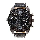 Foxnovo Oulm 9316 Cool Men''s große Runde Zifferblatt Dual Zeitanzeige Quarz-Armbanduhr mit PU-Band (schwarz)