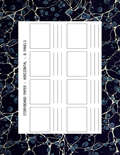STORYBOARD PAPER - HORIZONTAL - 8 PANELS: 216 pages : dark marble cover : large size book 11 x 8.5 inches