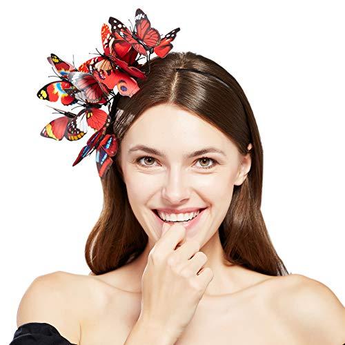 Coucoland Schmetterlings Fascinator Haarreif Damen Blumen Schmetterling Stirnband Haarband Englische Tee Cocktail Party Damen Fasching Karneval Kostüm Haar Accessoires (Rot)