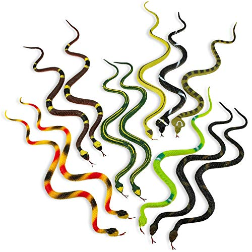 Kicko 14 Inch Assorted Big Rainforest Snakes - 12 Pieces Stretchy Limbless Replica Reptiles, Gag Toy, Idea, Carnival Game Prizes, Science and Nature, Eco-Friendly Repellent, Goody Bag, Floater