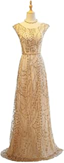 ZYDP Womens Gold Sequined Round Neck Lace Embroidery High Waist Long Evening Gown Dresses for Wedding (Color : Gold, Size ...
