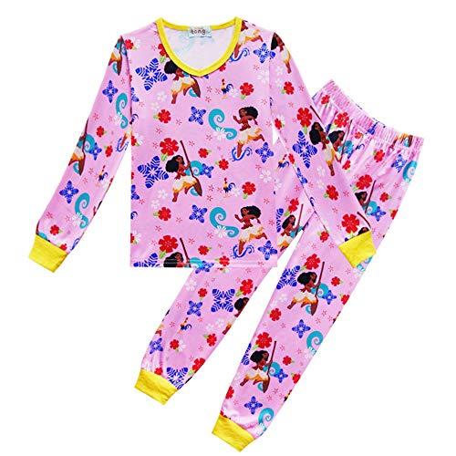 Moana Traje for el Servicio a Domicilio de los niños Pie de Imprenta Conjuntos de Pijamas Camiseta de Manga Larga + Pantalones Largos (Color : Pink, Size : 120)