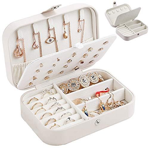 Zaleonline Joyero Pequeña de PU Joyero portátil de Viaje para Mujer Jewelry Box Organizer para Anillos Aretes Pendientes Pulseras y Collares