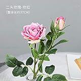 AJIAHHFaux Fleur Simulation Bouquet Maison Décoration Intérieure Fleur Bureau Rose Fleur De Soie Mariage Salon Décoration Plastique Fleur Séchée Paris Rose Rose Rouge (1 Branche)