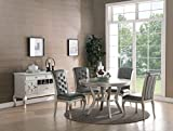 Esofastore Formal Luxurious 5pc Dining Set Antique Silver Finish Upholstered Tufted Chairs Round Dining Table Kitchen Dining Room Furniture