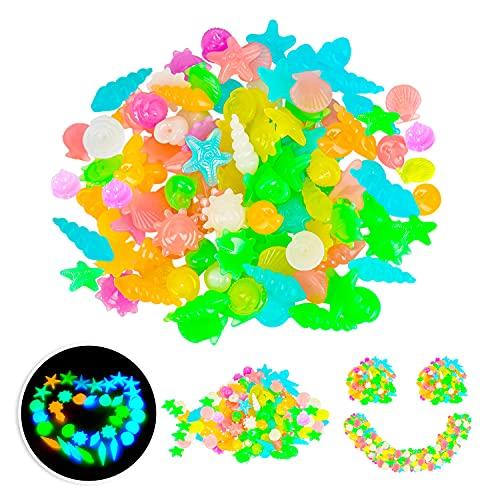 Bunte Leuchtsteine 200 Pcs,Leuchtkiesel,Aquarium Steine Leuchtend,Leuchtende Kieselsteine,Dekosteine Bunt,Fluoreszierende Nachtleuchtende Steine,Leuchtsteine für Aquarium/Garten/Pflanzen Topf(Farbe)
