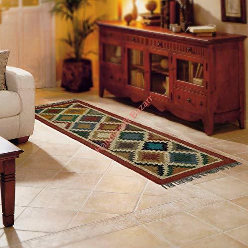 Handicraft Bazarr Alfombra reversible de yute de lana Kilim, 2 x 6 pies para decoración de salón, alfombra de yute Dhurries, alfombra decorativa para exteriores, alfombra vintage