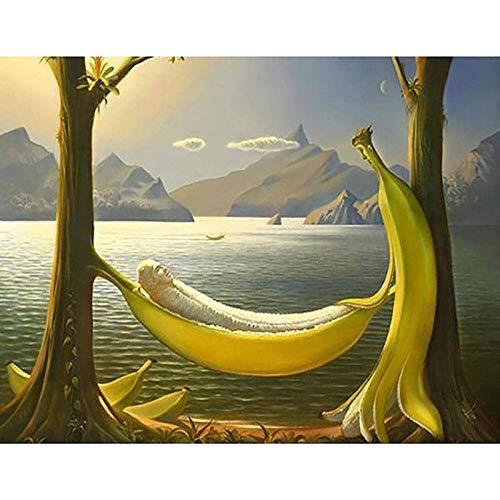 Pintar por Numeros para Adultos Niños Pintura por Números con Pinceles y Pinturas Decoraciones DIY Conjunto Completo de Pinturas para el Hogar Columpio de Banana 40 * 50cm(Sin Marco)