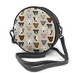 BAODANLA Bolso redondo mujer Round Crossbody Bag Pitbull Heads Handbag Purse Single Shoulder Bag Sling Bag
