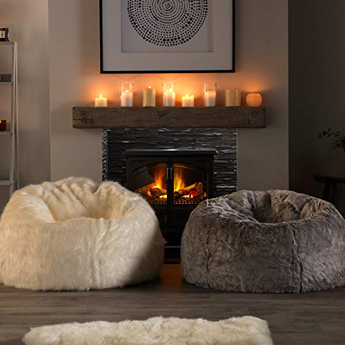 Icon Klassischer Sitzsack aus Kunstpelz, Sitzsäcke für das Wohnzimmer, 85cm x 50cm, Groß, Stuhl für das Schlafzimmer (Arktischer Wolf Grau) - 4