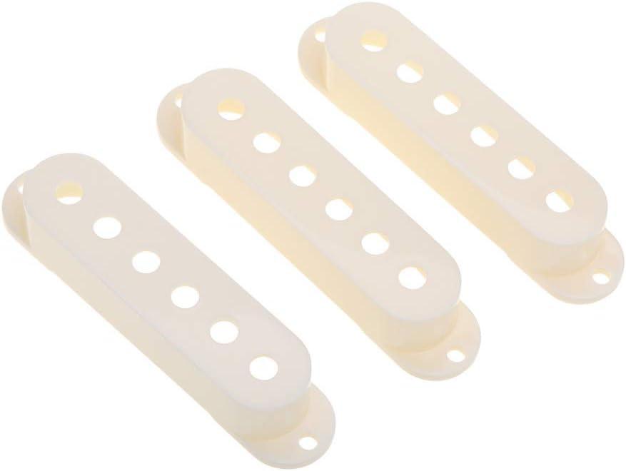 Musiclily Pro Plástico 50/50/52mm Cubiertas Pastillas de Bobina Simple para Guitarra Import Strat Squier,Aged White(Set de 3)