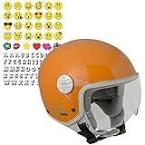CGM HAVANA SMILE, Casco Bambino Junior Demi Jet Moto Scooter, Arancione, YL (53-54cm)