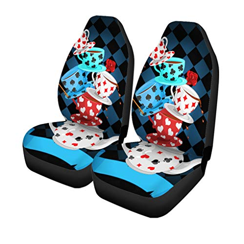Semtomn Set of 2 Car Seat Covers Hatter Mad Tea Party Pyramid Cup Magic Universal Auto Front Seats Protector Fits for Car,SUV Sedan,Truck