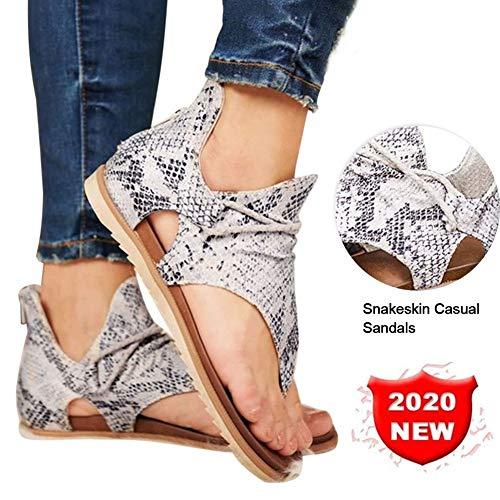 XTT Sandalias Boho Chic Mujer Zapatos Casuales Antideslizantes para Caminar Elegantes Cómodos para Fiesta Boda Playa de Vestir Aire Libre Snakeskin-37