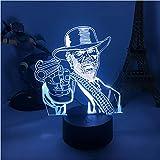 Gun Smoke Billy Bob Lampada 3D 7 Colori Luci Notturne A Led Regali Per Camera Da Letto Camera Da Letto Illusione Ottica Lampada Da Tavolo Decorazione Da Tavolo
