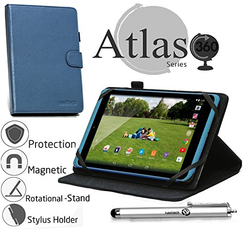 Navitech 8 Zoll Blaue Hülle/Hülle/Cover mit 360 Grad rotierbarem Stand & Stylus für Medion Akoya E8211T / Toshiba Encore 2