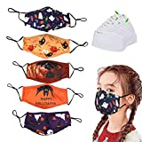 5 Pack face mask Halloween Protective Covers with 10 Filters, Washable Reusable Halloween Protection Cover mask ,Halloween Costume for Kids(Kids)