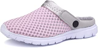 Slippers for Men Summer Sandals Slip-on Outdoor Breathable Mesh Upper Anti-slip Flat Bout Shut Toe Backless Lightweight Simple business, stylish and casual everyday (Color : Pink, Size : 36 EU)