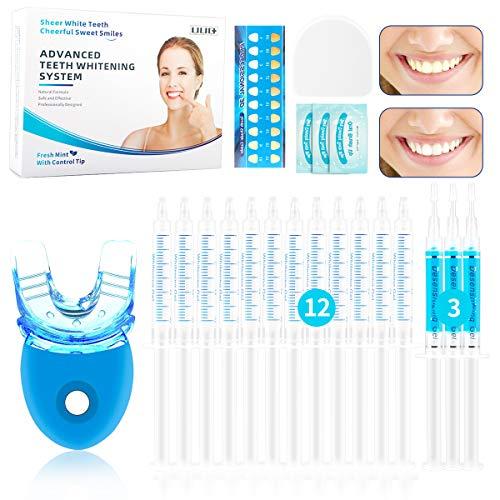 Teeth Whitening Kit, UUQ Professional Zahnaufhellungs Set mit LED-Licht, Wiederverwendbares Home Bleaching Kit für Weisse Zähne Inklusive 12 Zahnaufhellungsgel, 3 beruhigendes Gel