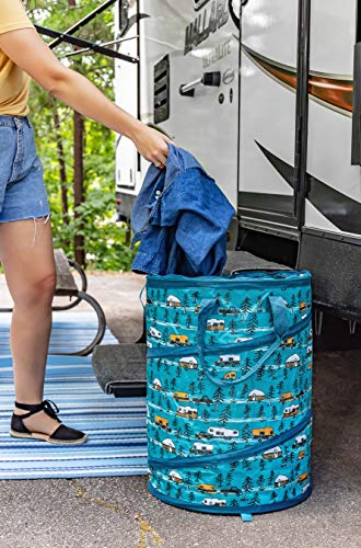 Camco Large Life is Better at The Campsite Pop-Up Utility Container | 18 x 24-inch | A Compact Size for Multi-Purpose Use | Sketched RVs and Trees Pattern (42987)