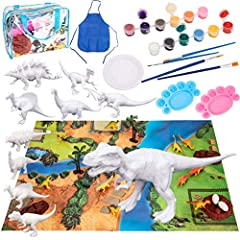 36PCS EXTRA VALUABLE KITS: Our DIY Dinosaurs Painting and Playing Kit Includes 10 paintable dinosaurs , 10 dinosaur figures, 12 Pot Color Paint, 6 Brushes, 1 palett, 1 anti-dirt Pad and Play Scene Carpet etc. EDUCATUINAL LEARNING ACTIVITY: Dinosaur c...