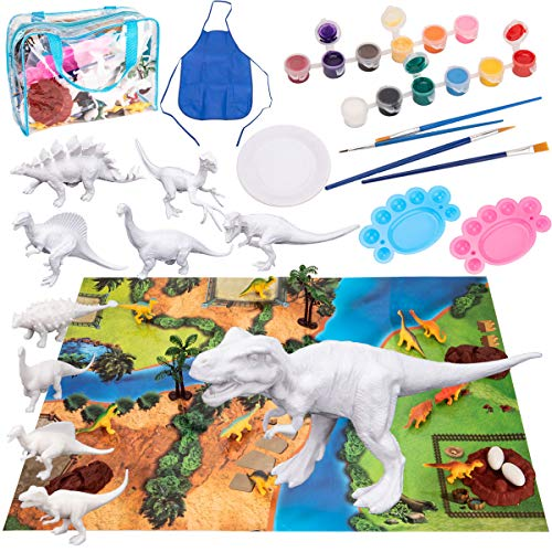 Bikilin's toy Kids Crafts and Arts Set Painting Kit, Dinosaurs Toys Art and Craft Supplies Party Favors for Boys Girls Age 4 5 6 7, Paint Your Own Dinosaur DIY Set