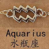 LIUL 12 Horóscopo Signo del Zodiaco Pulsera Colgante para Mujer Géminis Sagitario Escorpio Capricornio Piscis Tauro Pulsera Hombres Leo Zodiaco, Acuario Dorado
