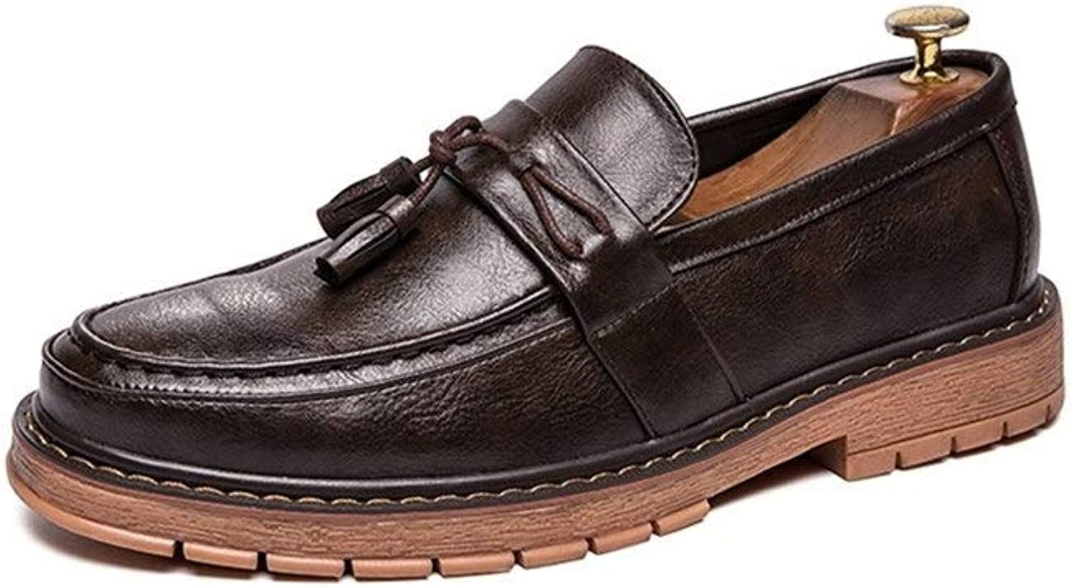 Easy Go Shopping Casual Oxford for Men Fashion Loafers With Front Tassel Comfortable Slip On Flats shoes PU Leather Upper Round Toe Abrasion Resistant Cricket shoes (color   Brown, Size   8 UK)