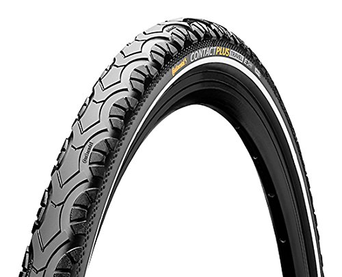 """Continental Contact Plus Travel Bike Tire - E-Bike Rated, SafetyPlus Puncture Protection, All Terrain Bicycle Tire (26"""", 28"""")"""