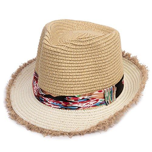 MMWYC Ragazzi e Ragazze Cappelli di Paglia, Viaggio Estivo Protezione Solare Bambino Cappello da Spiaggia per Bambini Cappello da Sole per Bambini (Color : Beige)