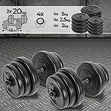 Physionics® Set di Manubri - 2x20 kg, 12 Dischi Rivestiti in Plastica, Ø 25 mm, 2 Barre di Acciaio, 4 Fermadischi - Dumbbell, Pesi Fitness, Palestra, Body Building