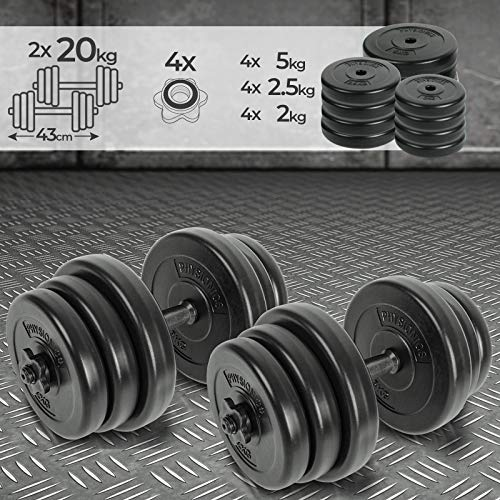 Physionics Set di Manubri - 2x20 kg, 12 Dischi Rivestiti in Plastica, Ø 25 mm, 2 Barre di Acciaio, 4 Fermadischi - Dumbbell, Pesi Fitness, Palestra, Body Building