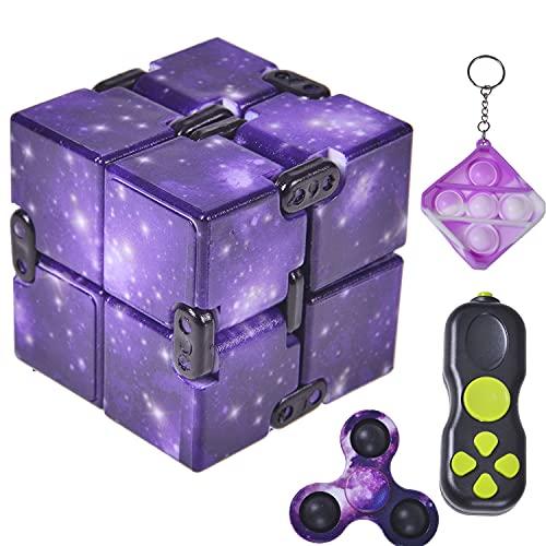 Infinity Cube Fidget Toys Fidget Pad Dimple Keychain Toy Stress Relief Hand Mini Fidget Spinner Toys...