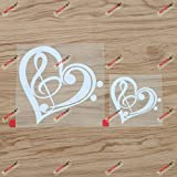 Bass Treble Clef Heart Love Music Decal Vinyl Sticker - 2 Pack White, 3 Inches, 5 Inches - Die Cut No Background for Car Boat Laptop Cup