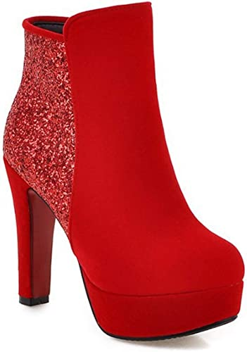 Impermeables Gruesas de tacón Alto mujer otoño e Invierno Cabeza rojoonda botas Cortas Rojas Calido Comodo