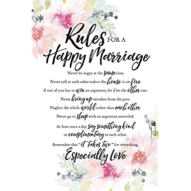 Rules For Happy Marriage Woodland Grace Series 6  x 9  Wood Plaque with Easel