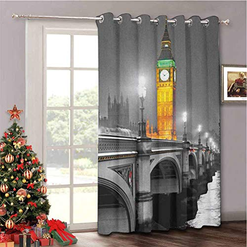Aishare Store London Energy Efficient Sliding Patio Door Curtain Panel, The Big Ben and The Westminster Bridge at Night in UK Street River, Blackout Blind for Living Room W52 x L96 Inch