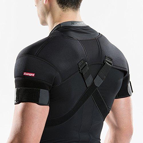 Kuangmi(カウアミ) 肩サポーター 調整可能 スポーツ ケガ防止 肩固定 肩痛 肩保護 ベルト コルセット 五十肩・冷え性・肩こり緩和 夏 通気 ソフト 軽量 複合エコ生地 (Large)