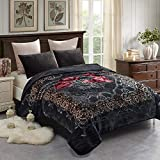 JML Fleece Blanket King Size, Heavy Korean Mink Blanket 85 X 95 Inches- 9 Lbs, Single Ply, Soft and Warm, Thick Raschel Printed Mink Blanket for Autumn,Winter,Bed,Home,Gifts, Grey Flower