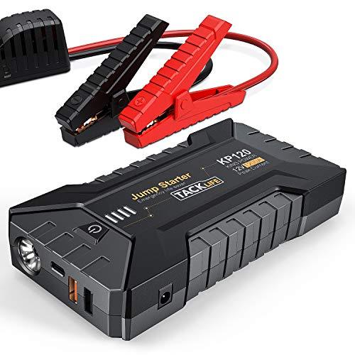 TACKLIFE 1200A Arrancador de Coche KP120 Jump Starter para vehículos de Gasolina hasta 8.000 CC y de Diesel hasta 6.000 CC con Luz LED, Carga Rápida 3.0 y Puerto Tipo-C